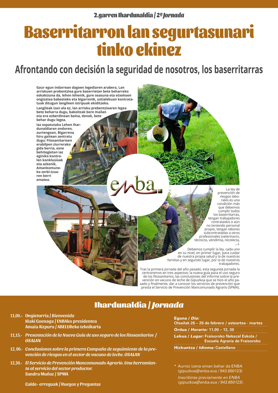 ENBA celebra su segunda Jornada sobre Prevención de Riesgos Laborales el día 26 de Febrero en Fraisoro.