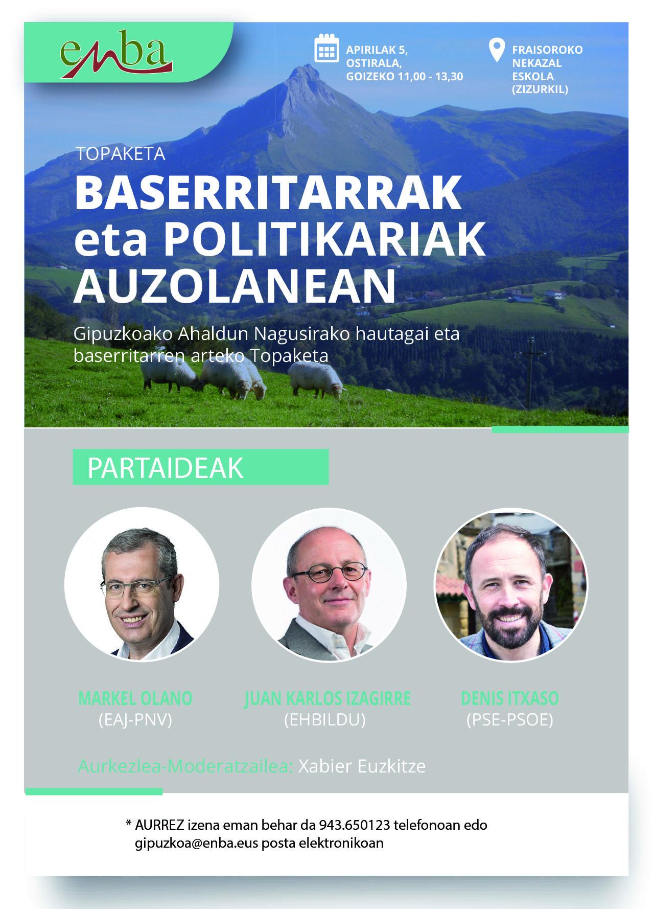 ENBA organiza un Encuentro entre candidatos a diputado general y baserritarras.